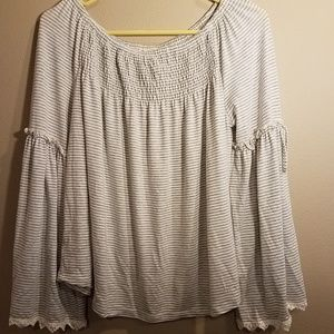 Maurices gray and white striped top size medium